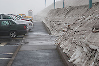 Snow in Parking Lot at Johnston Ridge,  Mt. St. Helens National Volcanic Monument, Washington, US