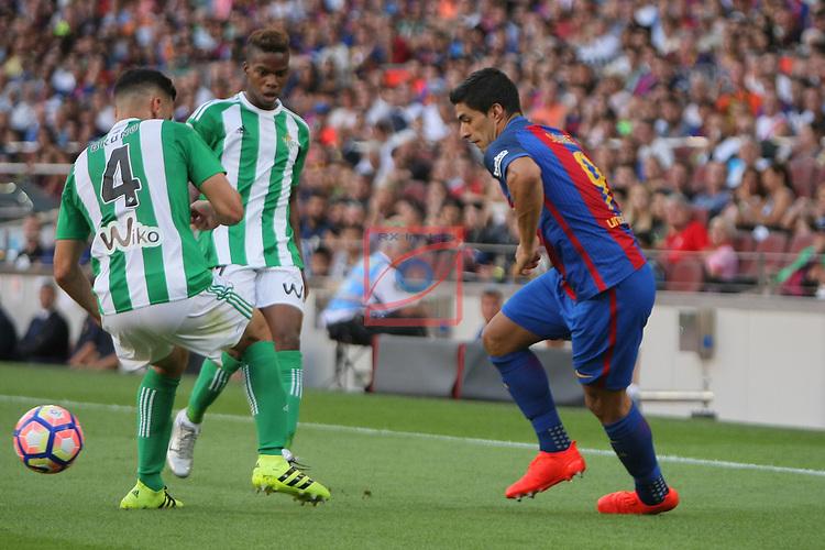 League Santander 2016/2017. Game: 1.<br /> FC Barcelona vs Real Betis: 6-2.<br /> Bruno vs Luis Suarez.