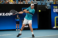 9th January 2020; Sydney Olympic Park Tennis Centre, Sydney, New South Wales, Australia; ATP Cup Australia, Sydney, Day 7; Great Britain versus Australia; Cameron Norrie of Great Britain versus Nick Kyrgios of Australia; Cameron Norrie of Great Britain hits a backhand to Nick Kyrgios of Australia - Editorial Use