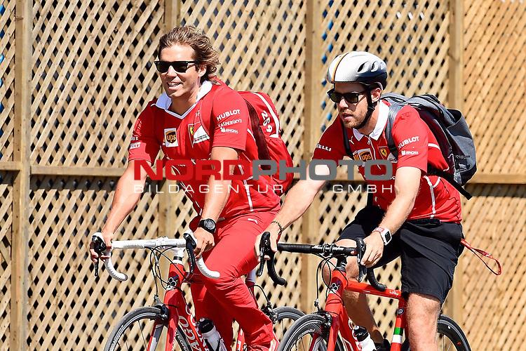 08.06.2017, Circuit Gilles Villeneuve, Montreal, FORMULA 1  GRAND PRIX CANADA, 09. - 11.06.2017 <br /> , im Bild<br />Sebastian Vettel (GER#5), Scuderia Ferrari kommt mit dem Fahrrad an die Strecke<br /><br /> <br /> Foto &copy; nordphoto / Bratic