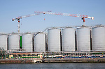 Storage tanks and cranes, Port of Rotterdam, Netherlands