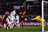 A chance for Edin Dzeko of AS Roma saved by Gianluigi Donnarumma of AC Milan  during the Serie A 2018/2019 football match between AS Roma and AC Milan at stadio Olimpico, Roma, February 3, 2019 <br />  Foto Andrea Staccioli / Insidefoto
