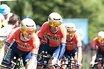 Bahrain-Merida including Vincenzo Nibali (ITA) in action during Stage 2 of the 2019 Tour de France a Team Time Trial running 27.6km from Bruxelles Palais Royal to Brussel Atomium, Belgium. 7th July 2019.<br /> Picture: Colin Flockton | Cyclefile<br /> All photos usage must carry mandatory copyright credit (© Cyclefile | Colin Flockton)