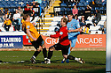 Danny Wright and Simon Brown of Cambridge United combine to block Jamie Reed of York during the Blue Square Bet Premier match between Cambridge United and York City at the Abbey Stadium, Cambridge on 19th March, 2011.© Kevin Coleman 2011