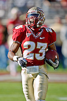 November 27, 2010:   Florida State Seminoles running back Chris Thompson (23) warms up prior to the start of the game between the ACC Conference Florida State Seminoles and the SEC Conference University of Florida Gators at Doak Campbell Stadium in Tallahassee, Florida.