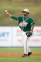 Shortstop Osvaldo Martinez (1) of the Greensboro Grasshoppers on defense at Fieldcrest Cannon Stadium in Kannapolis, NC, Saturday August 24, 2008. (Photo by Brian Westerholt / Four Seam Images)