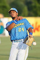 Myrtle Beach Pelicans third baseman Jeimer Candelario (24) warms up in the outfield prior to the game against the Frederick Keys at Ticketreturn.com Field at Pelicans Ballpark on May 21, 2015 in Myrtle Beach, South Carolina.  Frederick defeated Myrtle Beach 4-3. (Robert Gurganus/Four Seam Images)