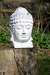 Buddha head garden ornament