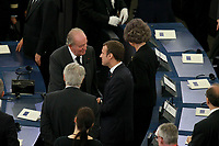 Juan Carlos; Emmanuel Macron<br /> <br /> STRASBOURG, FRANCE - JULY 01: The coffin holding the remains of former German Chancellor Helmut Kohl draped by the European flag is carried to the memorial ceremony at the European Parliament on July 1, 2017 in Strasbourg, France. Kohl was chancellor of Germany for 16 years and led the country from the Cold War through to reunification. He died on June 16 at the age of 87<br /> Foto Elyxandro Cegarra / Panoramic / Insidefoto <br /> ITALY ONLY