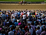 ELMONT, NY - JUNE 09: Fans watch the finish of the Runhappy Metropolitan Handicap on Belmont Stakes Day at Belmont Park on June 9, 2018 in Elmont, New York. (Photo by Scott Serio/Eclipse Sportswire/Getty Images)