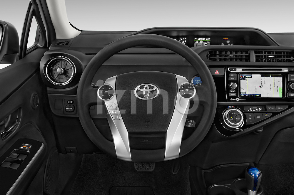 Car pictures of steering wheel view of a 2015 Toyota Prius c Three 5 Door Hatchback Steering Wheel