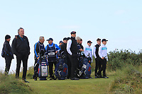 Harry Hall  (GB&I), Alex Fitzpatrick (GB&I), Conor Purcell  (GB&I) and Conor Gough (GB&I) on the 13th tee during the preview round at the Walker Cup, Royal Liverpool Golf CLub, Hoylake, Cheshire, England. 06/09/2019.<br /> Picture Thos Caffrey / Golffile.ie<br /> <br /> All photo usage must carry mandatory copyright credit (© Golffile | Thos Caffrey)