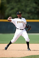 GCL Pirates third baseman Ke'Bryan Hayes (6) throws to first during the first game of a doubleheader against the GCL Yankees 2 on July 31, 2015 at the Pirate City in Bradenton, Florida.  GCL Pirates defeated the GCL Yankees 2 2-1.  (Mike Janes/Four Seam Images)
