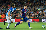 Lionel Andres Messi (r) of FC Barcelona is followed by Paul Baysse of Malaga CF during the La Liga 2017-18 match between FC Barcelona and Malaga CF at Camp Nou on 21 October 2017 in Barcelona, Spain. Photo by Vicens Gimenez / Power Sport Images