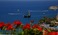 Schooner sailing from Mogan harbour, Mogan, Gran Canaria. Canary Islands, Spain.