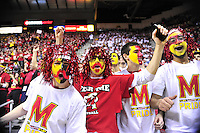 Terrapin fans are fired up for the tip off against Duke at the Comcast Center in College Park, MD on Saturday, February 16, 2013. Alan P. Santos/DC Sports Box
