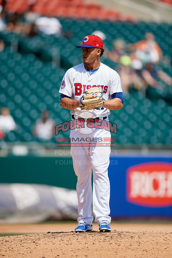Buffalo Bisons relief pitcher Jose Fernandez (47) gets ready to deliver a pitch during a game against the Pawtucket Red Sox on June 28, 2018 at Coca-Cola Field in Buffalo, New York.  Buffalo defeated Pawtucket 8-1.  (Mike Janes/Four Seam Images)