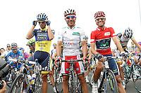 Alberto Contador (l), Joaquin Purito Rodriguez (c) and Alejandro Valverde during the stage of La Vuelta 2012 between Barakaldo and Valdezcaray.August 21,2012. (ALTERPHOTOS/Acero) /NortePhoto.com
