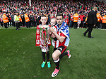 Sheffield United's Daniel Lafferty celebrates with the trophy during the League One match at Bramall Lane, Sheffield. Picture date: April 30th, 2017. Pic David Klein/Sportimage