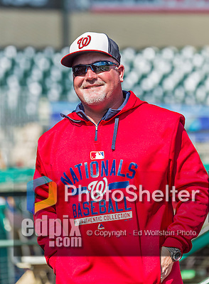 10 March 2015: Washington Nationals bullpen coach Matthew LeCroy smiles in the dugout prior to a Spring Training game against the Miami Marlins at Roger Dean Stadium in Jupiter, Florida. The Marlins edged out the Nationals 2-1 on a walk-off solo home run in the 9th inning of Grapefruit League play. Mandatory Credit: Ed Wolfstein Photo *** RAW (NEF) Image File Available ***