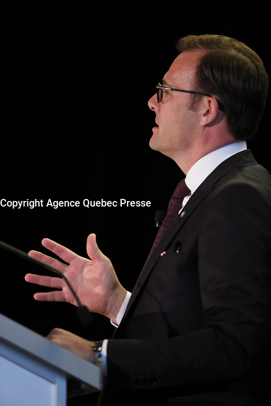 Allocution de Guy Cormier, President et chef de la direction du Mouvement Desjardins devant  Le Cercle canadien de Montreal , le 29 mai 2017.<br /> <br /> Photo :  Agence Quebec Presse