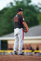 Aberdeen Ironbirds relief pitcher Jeong-Hyeon Yoon (56) during a game against the Batavia Muckdogs on July 16, 2016 at Dwyer Stadium in Batavia, New York.  Aberdeen defeated Batavia 9-0. (Mike Janes/Four Seam Images)