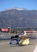 Nov 11, 2010; Pomona, CA, USA; NHRA funny car driver Ashley Force Hood during qualifying for the Auto Club Finals at Auto Club Raceway at Pomona. Mandatory Credit: Mark J. Rebilas-