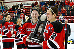 19 MAR 2016: Teammates from Wis.-River Falls showing off their National Runner-Up trophy during the Division lll Women's Ice Hockey Championship, held at the Ronald B. Stafford Ice Arena in Plattsburgh, NY. Plattsburgh defeated Wis.-River Falls 5-1 for the national title. Paige Johnson and Chloe Kinsel #2 hold Wis.-River Falls' runner-up trophy. Nancie Battaglia/NCAA Photos