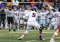 Connor Fields (#5) shoots as UAlbany Men's Lacrosse defeats Richmond 18-9 on May 12 at Casey Stadium in the NCAA tournament first round.