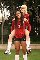 STANFORD, CA - AUGUST 12:  Joanna Evans (3) and Janet Okogbaa (2) of the Stanford Cardinal during picture day on August 12, 2008 at Arrillaga Plaza in Stanford, California.