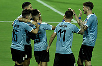 ARMENIA – COLOMBIA, 19-01-2020: Diego Rossi (#9) de Uruguay celebra después de anotar el primer gol de su equipo durante partido entre Uruguay y Paraguay por la fecha 1, grupo B, del CONMEBOL Preolímpico Colombia 2020 jugado en el estadio Centenario de Armenia, Colombia. /  Diego Rossi (#9) of Uruguay celebrates after scoring the first goal of his team during the match between Colombia and Paraguay for the date 1, group B, for the CONMEBOL Pre-Olympic Tournament Colombia 2020 played at Centenario stadium in Armenia, Colombia. Photos: VizzorImage / Gabriel Aponte / Staff