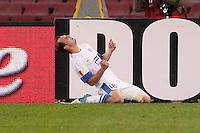 NAPOLI 08/11/2012 - GRUPPO F UEFA  EUROPA LEAGUE.INCONTRO NAPOLI - DNIPRO.NELLA FOTO  ESULTANZA Roman Zozulya.FOTO CIRO DE LUCA