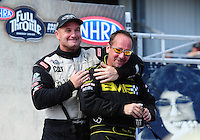 Sept. 25, 2011; Ennis, TX, USA: NHRA top fuel dragster driver Troy Buff (right) and Bob Vandergriff Jr during opening ceremonies at the Fall Nationals at the Texas Motorplex. Mandatory Credit: Mark J. Rebilas-