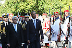 US President Barack Obama and his greek counterpart Prokopis Pavlopoulos review the Presidential Guard in Athens. President Barack Obama arrived in Greece Monday morning on the first stop of his final foreign tour as president, the first visit to Greece by a sitting U.S. president since Bill Clinton in 1999 trip.