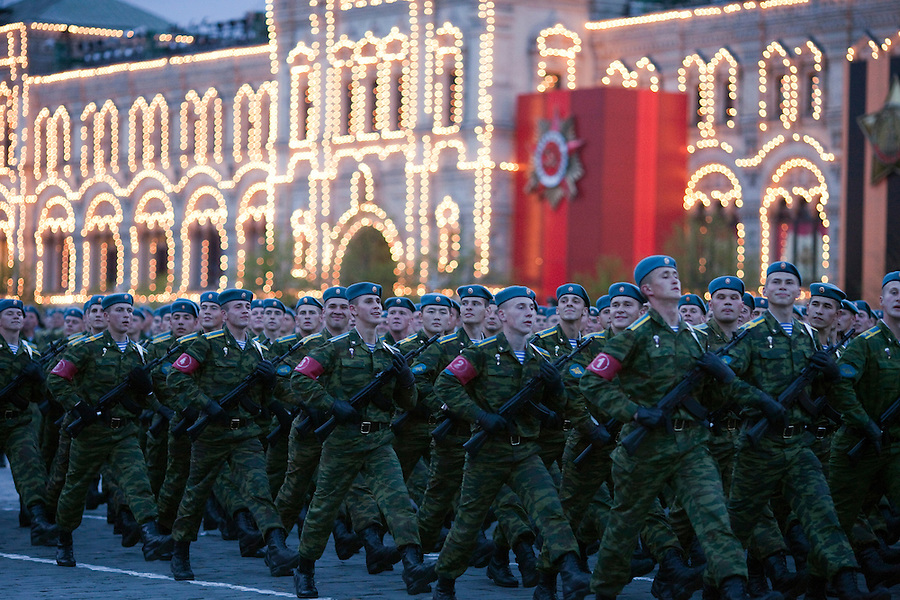 Moscow, Russia, 04/05/2010..Russian airborne troops at a night time rehearsal in Red Square for the forthcoming May 9 Victory Day parade, scheduled to be the largest for many years.