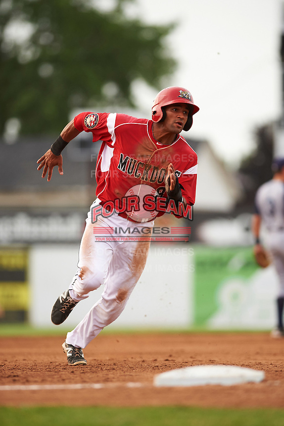 Batavia Muckdogs Kris Goodman (8) running the bases during a game against the Brooklyn Cyclones on July 6, 2016 at Dwyer Stadium in Batavia, New York.  Batavia defeated Brooklyn 15-2.  (Mike Janes/Four Seam Images)