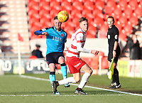 Kevin O'Connor of Fleetwood Town wins the ball back for Fleetwood Town during the Sky Bet League 1 match between Doncaster Rovers and Fleetwood Town at the Keepmoat Stadium, Doncaster, England on 17 February 2018. Photo by Leila Coker / PRiME Media Images.