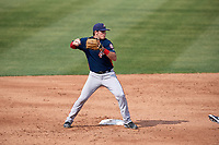 Potomac Nationals second baseman David Masters (8) throws to first base to complete a double play during the first game of a doubleheader against the Lynchburg Hillcats on June 9, 2018 at Calvin Falwell Field in Lynchburg, Virginia.  Lynchburg defeated Potomac 5-3.  (Mike Janes/Four Seam Images)