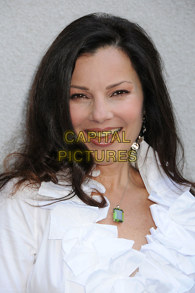 "FRAN DRESCHER .Fran Drescher's Annual ""Cancer Schmancer"" Charity Luncheon 2008 at Simon LA Restaurant, Los Angeles, California, USA..June 21st, 2008.headshot portrait white ruffled ruffles necklace .CAP/ADM/BP.©Byron Purvis/AdMedia/Capital Pictures."