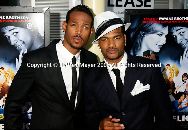 "HOLLYWOOD, CA. - May 20: Marlon Wayans and Damien Dante Wayans arrive at the Los Angeles Premiere of ""Dance Flick"" at the ArcLight Theatre on May 20, 2009 in Hollywood, California."