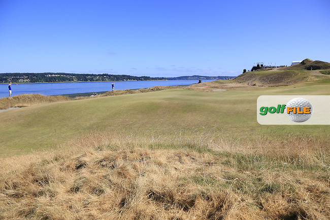 The 17th green on this links course designed by Robert Trent Jones Jr. during Wednesday's Practice Day of the 2015 U.S. Open 115th National Championship held at Chambers Bay, Seattle, Washington, USA. 6/17/2015.<br /> Picture &copy; Golffile/Eoin Clarke