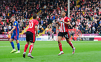 Lincoln City's Tyler Walker, right, celebrates scoring his side's second goal with team-mate Jack Payne<br /> <br /> Photographer Chris Vaughan/CameraSport<br /> <br /> The EFL Sky Bet League One - Lincoln City v Sunderland - Saturday 5th October 2019 - Sincil Bank - Lincoln<br /> <br /> World Copyright © 2019 CameraSport. All rights reserved. 43 Linden Ave. Countesthorpe. Leicester. England. LE8 5PG - Tel: +44 (0) 116 277 4147 - admin@camerasport.com - www.camerasport.com