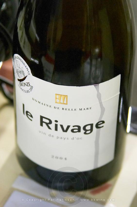 Cuvee Le Rivage Vin de Pays d'Oc. Domaine de Belle Mare. Languedoc. France. Europe. Bottle.