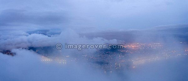 Brazil, Rio de Janeiro: View from the Sugar Loaf Mountain towards Rio' fog covered city centre. --- No signed releases available.
