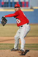 April 5, 2009:  /rp/ Aaron Hammons (43) of the Ball State Cardinals during a game at Amherst Audubon Field in Buffalo, NY.  Photo by:  Mike Janes/Four Seam Images
