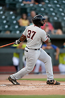 First baseman Tyreque Reed (37) of the Hickory Crawdads bats in a game against the Columbia Fireflies on Wednesday, August 28, 2019, at Segra Park in Columbia, South Carolina. Hickory won, 7-0. (Tom Priddy/Four Seam Images)