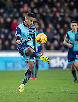 Paris Cowan-Hall of Wycombe Wanderers during the Sky Bet League 2 match between Wycombe Wanderers and Luton Town at Adams Park, High Wycombe, England on the 21st January 2017. Photo by Liam McAvoy.