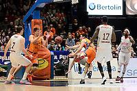 Asistencia Mart&iacute;nez - Harangody<br /> Liga Endesa ACB - 2014/15<br /> J17<br /> Valencia Basket vs Montakit Fuenlabrada