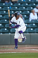 Yermin Mercedes (6) of the Winston-Salem Dash at bat against the Salem Red Sox at BB&T Ballpark on April 21, 2018 in Winston-Salem, North Carolina.  The Dash walked-off the Red Sox 4-3.  (Brian Westerholt/Four Seam Images)