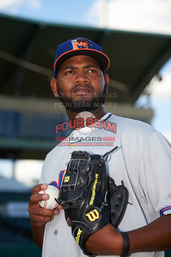 Midland RockHounds pitcher Raul Alcantara (56) poses for a photo before a game against the San Antonio Missions on April 21, 2016 at Nelson W. Wolff Municipal Stadium in San Antonio, Texas.  Midland defeated San Antonio 9-2.  (Mike Janes/Four Seam Images)